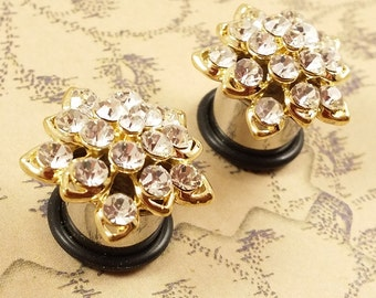 "Plugs Gauges - Gold Flower Crystal Plugs - 0ga (8mm), 00ga (10mm), 7/16"" (11mm), 1/2"" (12mm), 9/16"" (14mm)"