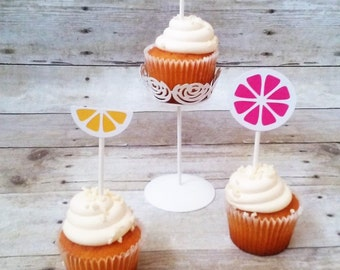 Pink Lemonade Cupcake Toppers - party supplies - 1st birthday - pink and yellow party