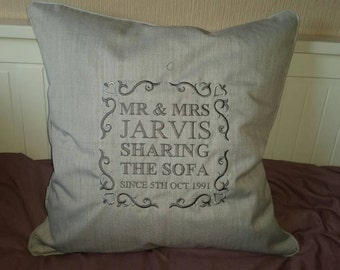 Personalised gift Mr & Mrs Anniversary Cushion/pillow in a variety of colours to suit. Ideal gift.