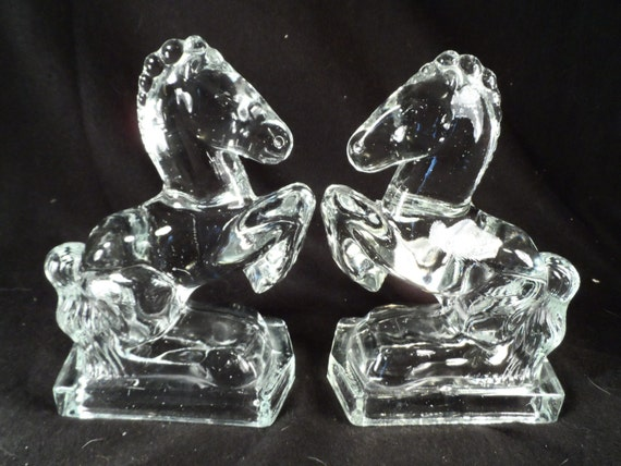 Clear Glass Horse Bookends-L. E. Smith Glass Mid Century Horse Bookends-Office Decor-Western Decor