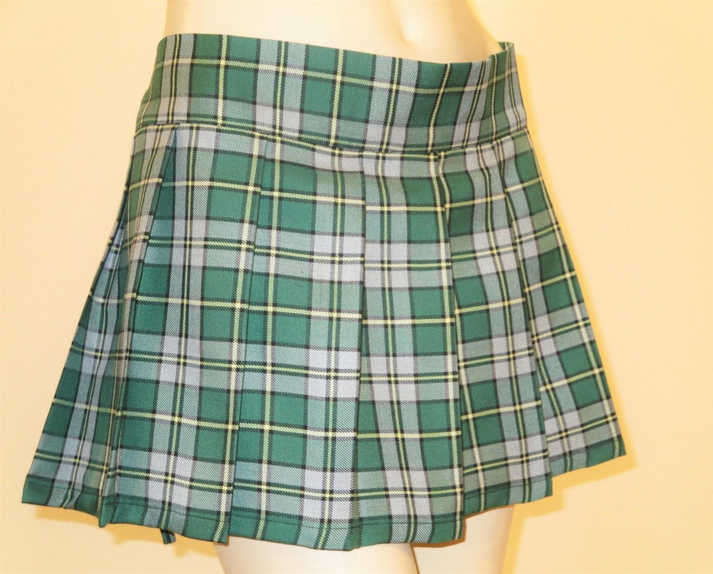 cape breton mini skirt pleated plaid tartan green by