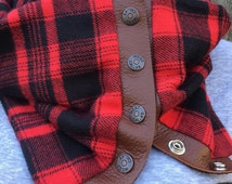 Red and Black Buffalo Check Snap Scarf