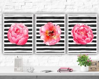 Watercolor Flowers Printable, Wall Art Print, Set of 3 Prints, Pink Flower, Fashion Print, Flower Art Print, Girls Room Decor, Floral Print