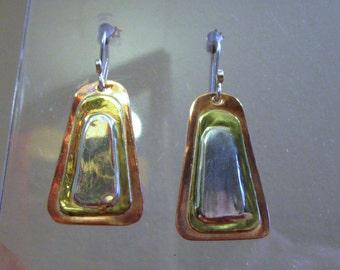 BO-141 earrings Silver 925 copper and brass, 30mm