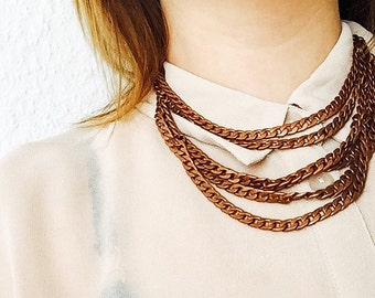 Layered chain necklace, minimal necklace, industrial, chunky chains, copper chain necklace , twisted chain necklace,layered necklace