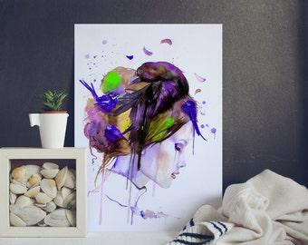 Beautiful Woman Fashion illustration - watercolor Print - Watercolor painting - Watercolor Art - Watercolor Wall Decor