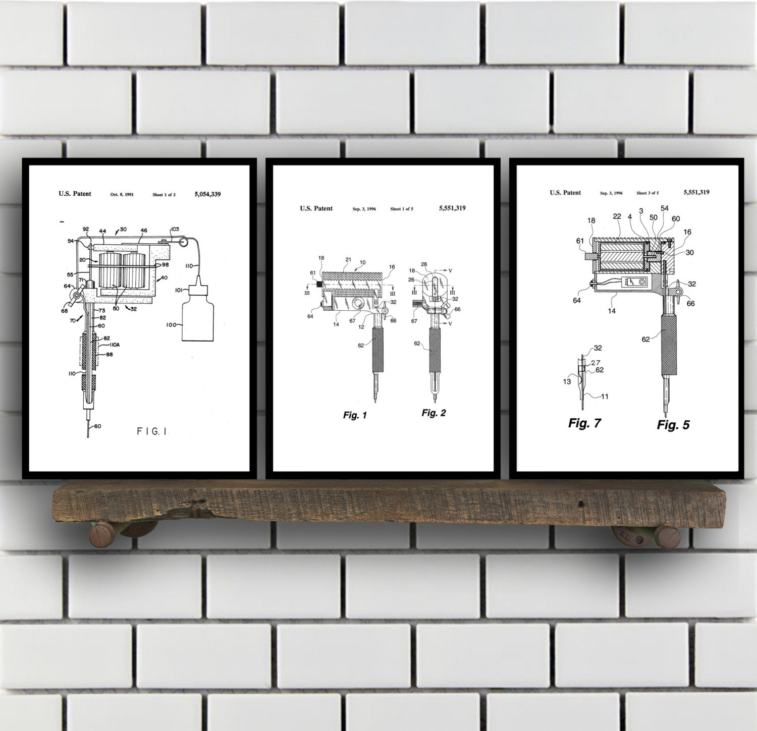 tattoo patent prints set of 3 tattoo patent tattoo