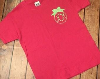 Monogram shirt - custom monogram - bow monogram - girls monogram shirt