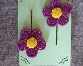 Hair pins with felt flowers - Children Hair Pins - Flower Hair pins - Accessories for girls - Back to School - Gift under 5.