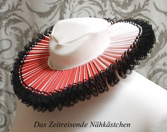 Elizabethan Ruff, white and red, with black lace