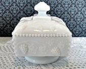 "Vintage Milk Glass Honey Dish with Lid, ""Paneled Grape"" by Westmoreland, Covered Bowl, Mid Century, Circa 1950s"