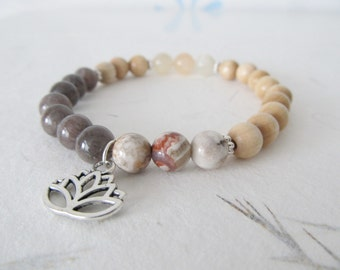 Lotus bracelet, yoga bracelet, gemstone bracelet