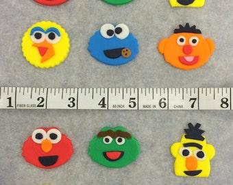 Handmade Edible Sesame Street Inspired Cupcake Toppers - set of 12 (one dozen). Elmo, Cookie Monster, Big Bird, Oscar, Bert & Ernie
