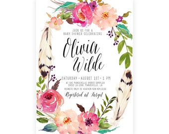 Boho Baby Shower Invitation Girl, Feather, Flower, Watercolor Invitation, Printable (724)