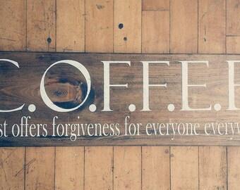 Christ offers forgiveness for eveyone everywhere AKA COFFEE