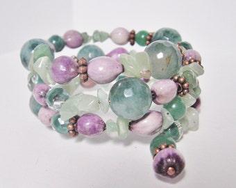 Malay Jade and Purple Memory Wire Bracelet; Adventurine Bracelet, Memory Wire Jewelry, Purple and Green Bracelet