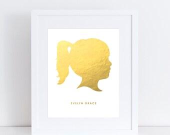 Foil Silhouette Art Print - Custom Portrait Print - Child's Portrait Print - Pet Portrait Print - Gold Foil, Silver Foil
