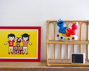 "Retro poster ""Growing up"" 30 x 40 - A3 - Illustration by Studio VUDO, poster red yellow children"