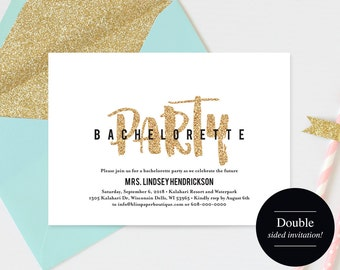 Bachelorette Party Invite, Bachelorette Party Invitation, Bachelorette Printable, Gold Glitter, Template, PDF Instant Download #BPB311_44