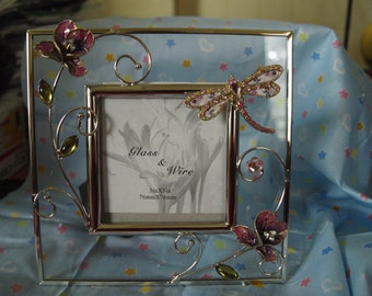 Floral Dragonfly Photo Frame