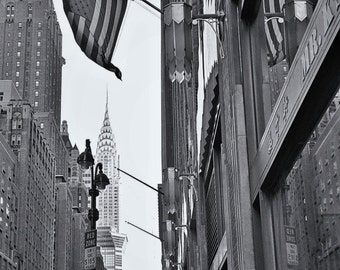 Chrysler Building NYC, American flag  NYC, Black and white NY street photography