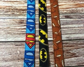 Superman Batman and Football Pacifier clips for your Binky