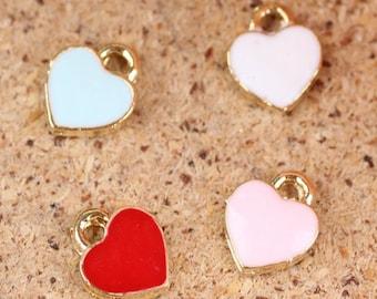 20PCS, Enameled Hearts charm pendant,bowknot material,bracelet pendant accessories,jewelry findings,7X8mm