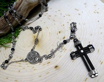 Black & Silver CZ Cross Extra Long Rosary Stainless Steel Necklace