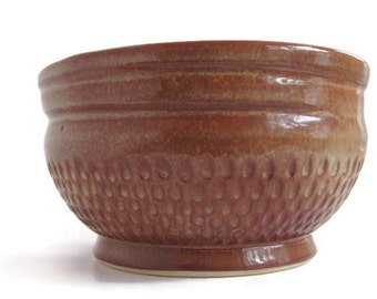 Large Cereal Bowl, Unique Bowl, Ceramic Soup Bowl, Brown and Cream Bowl, Ceramic Bowl, Dishes, Textured Bowl, Gift