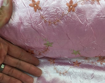 52 in w Pastel pink taffeta w embroidered flowers soft n flowy Fabric by the yard