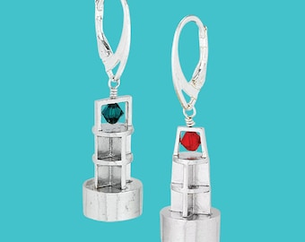 Port/Starboard Buoy Earrings - Sterling Silver