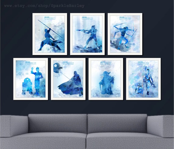 Blue Star Wall Decor : Rey bb r d yoda poster aqua navy blue home wall decor star