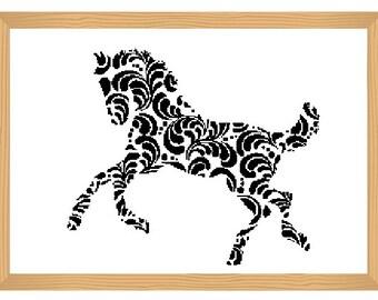 horse cross stitch pattern, silhouette cross stitch, ornamental, abstract, horse pattern, modern cross stitch, black and white, animal