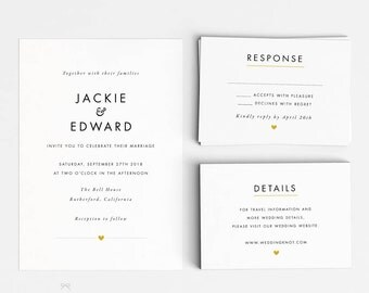 Wedding Invitation Printable Suite Printable- Modern Minimalist Printable Invites - Ready to Print PDF - Letter or A4 Size (Item code: P305)