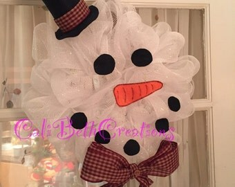 Snowman Decomesh Wreath - Winter Door Wreath - Winter Decoration