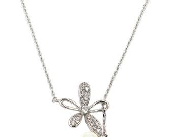 Elegant crystal flower petals silver necklace