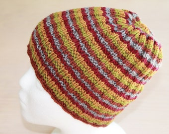 Womens 5 color striped knit hat