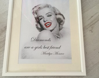 Framed 14 x 11 Marilyn Monroe glitter art framed picture bespoke custom made can be personalised gift for her Marilyn Monroe quote home deco