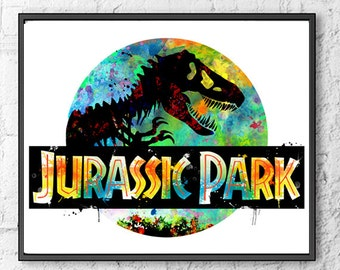 Jurassic Park Watercolor Print, Dinosaur Art, Movie Poster, T-Rex, Jurassic World, Wall Art, Kids Room Decor, Nursery Art, Colorful - 598
