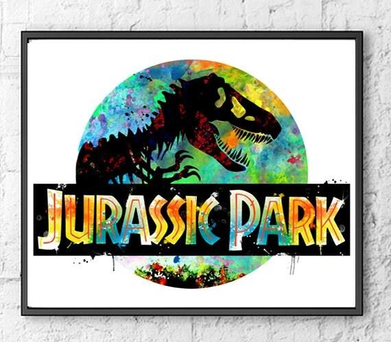 Jurassic Park Watercolor Print Dinosaur Art Movie By