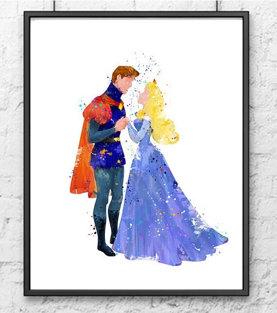 Sleeping Beauty Watercolor Print Princess Aurora By Gingerkidsart