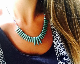 Turquoise Spike Statement Necklace - Tribal Bib