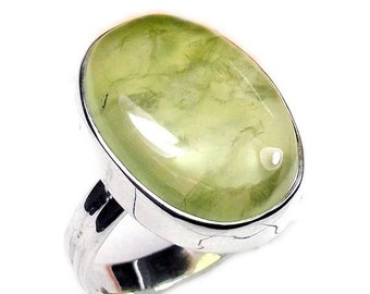 25% Off Sale Prehnite Ring, Large Gemstone Ring, Handmade Ring, Sterling Silver Ring, Fine Silver Ring, Oval Stone Ring, Statement Ring, Gif