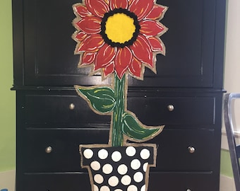 Burlap door hanger, burlap sunflower door hanger, burlap red door hanger, red flower door hanger, red door hanger, big flower door hanger