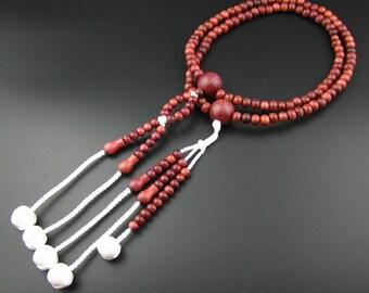Purpleheart Wood Juzu Malas Rosary, High Quality Japanese Buddhist Nichiren SGI Nenju Free World Shipping