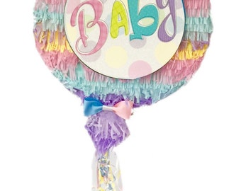Round Gender Reveal Pull Strings Pinata