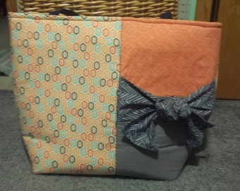 Coral color tote chevron liner