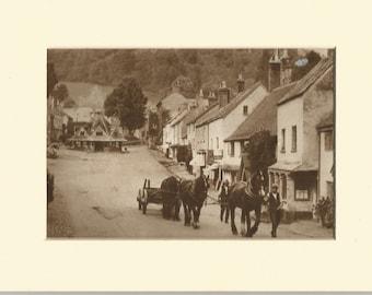 1930s dunster village somerset sepia print. antique print vintage wall decor