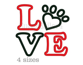 LOVE applique design, Paw applique design, Love Paw embroidery, LOVE Paw applique design, Valentine applique design