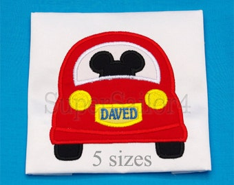 Mouse Car applique design, Mickey applique design, Trip applique design